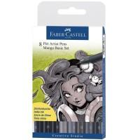 Set 8 markere cu varf pensula Faber-Castell Pitt Artist Pen Manga