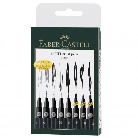 Set 8 markere cu varf pensula, negru, Faber-Castell Pitt Artist Pen