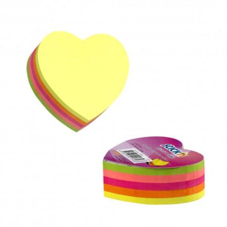 Notes adeziv cub color - inima, 64x67 mm, 250 file, Stick'n - 5 culori fluorescente