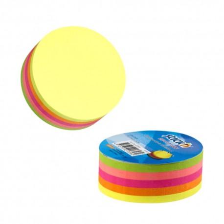 Notes adeziv cub color - cerc, 67x67 mm, 250 file, Stick'n - 5 culori fluorescente