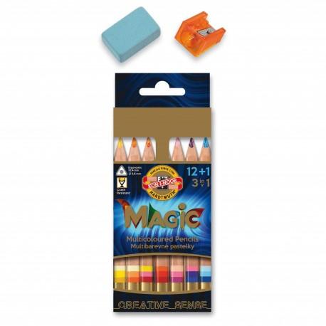 Creioane colorate multicolor Koh-I-Noor Magic 13 buc./set + accesorii