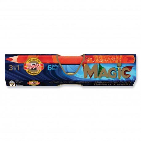 Creioane colorate multicolor Koh-I-Noor Magic Jumbo 3 in 1, 6 buc./set