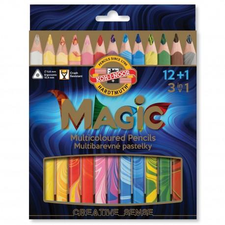 Creioane colorate multicolor Koh-I-Noor Magic Jumbo 3 in 1, 13 buc./set