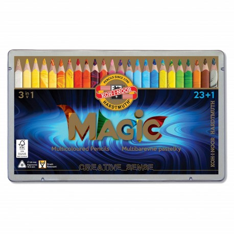 Creioane colorate multicolor Koh-I-Noor Magic Jumbo 3 in 1, 24 buc./set