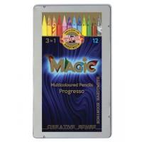 Creioane colorate multicolor fara lemn Koh-I-Noor Magic 3 in 1 Progresso, 12 buc./set, cutie metal