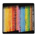 Creioane colorate multicolor fara lemn Koh-I-Noor Magic 3 in 1 Progresso, 24 buc./set, cutie metal