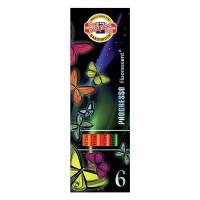 Creioane colorate fara lemn Koh-I-Noor Progresso Fluorescent set 6 culori