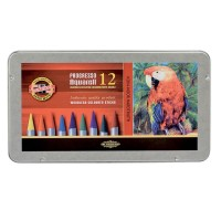 Creioane colorate acuarela, fara lemn, Koh-I-Noor Progresso Aquarell, 12 culori