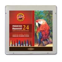 Creioane colorate acuarela, fara lemn, Koh-I-Noor Progresso Aquarell, 24 culori