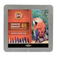 Creioane colorate acuarela, fara lemn, Koh-I-Noor Progresso Aquarell, 48 culori