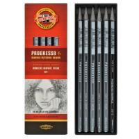 Set 6 creioane fara lemn Koh-I-Noor Progresso HB, 2B, 4B, 6B, 8B, Aquarell
