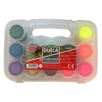 Guasa 12 culori neon si metalizate, 20ml, Daco Duela