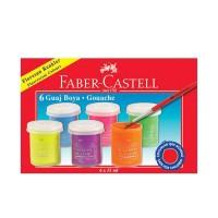Guasa 6 culori fluorescente, 15ml, Faber-Castell