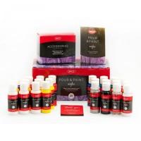 Set 20 culori acrilice 60ml + accesorii Daco Pour and Paint