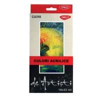 Culori acrilice 10 pe set, 22 ml, Daco Artist