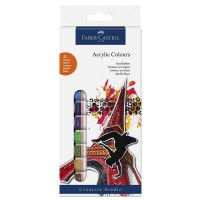 Culori acrilice 12 pe set, 12 ml, Faber-Castell