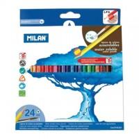 Creioane colorate acuarela Milan 24 culori triunghiulare