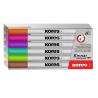 Marker whiteboard Kores Slim set 6 culori