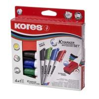 Marker whiteboard Kores set 4 + burete magnetic