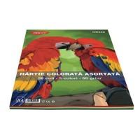 Hartie A4 color asortata set 50 coli, 5 culori, 80g/mp, Daco