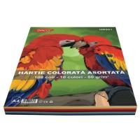 Hartie A4 color asortata set 100 coli, 10 culori, 80g/mp, Daco