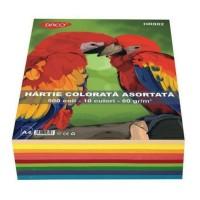 Hartie A4 color asortata set 500 coli, 10 culori, 80g/mp, Daco