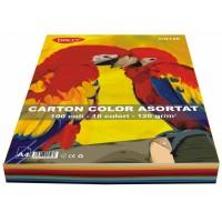 Carton A4 10 culori asortate, 100 coli, 120g/mp, Daco