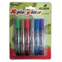 Lipici cu sclipici set 6 culori Ecada