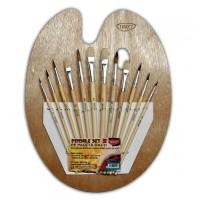 Set 12 pensule + paleta pictura din lemn, Daco