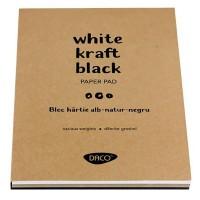 Bloc desen hartie alba-kraft-neagra A5, 60 file, Daco