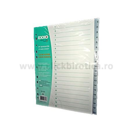 Separator index plastic gri numeric 1-20, EXXO