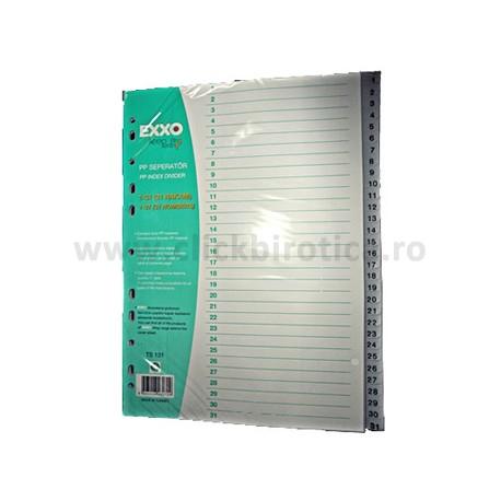 Separator index plastic gri numeric 1-31, Exxo