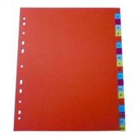 Separator index plastic color, alfabetic A-Z, Optima