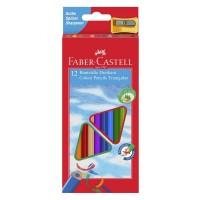 Creioane color Faber-Castell 12 culori triunghiulare + ascutitoare