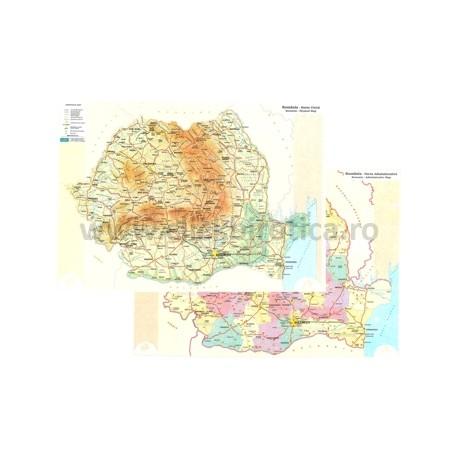 Harta Fizica Si Administrativa A Romaniei A4