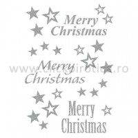 Abtibild Merry Christmas cu sclipici, Herma