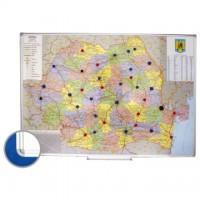 Harta Romaniei (rutiera+administrativa) 100 x 140 cm, profil aluminiu