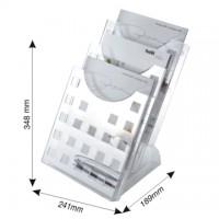 Display modular pentru birou, 3 x A4, HELIT - transparent cristal