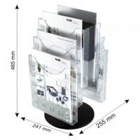 Display modular rotativ, de birou, 6 x A4, HELIT - transparent cristal