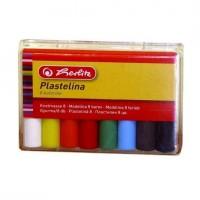 Plastilina 8 culori in cutie de plastic, 90g, Herlitz