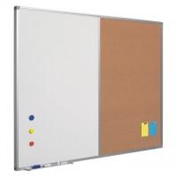 Tabla combi (whiteboard / textil albastru) 60 x 90 cm, profil aluminiu SL, SMIT