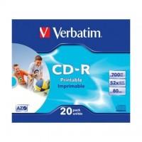 CD-R Verbatim 700MB/52x, carcasa, printabil