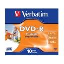 DVD-R Verbatim 4,7GB/16x, carcasa subtire, printabil