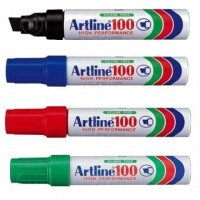 Marker permanent Artline 100, varf tesit 7,5 - 12 mm, corp metalic
