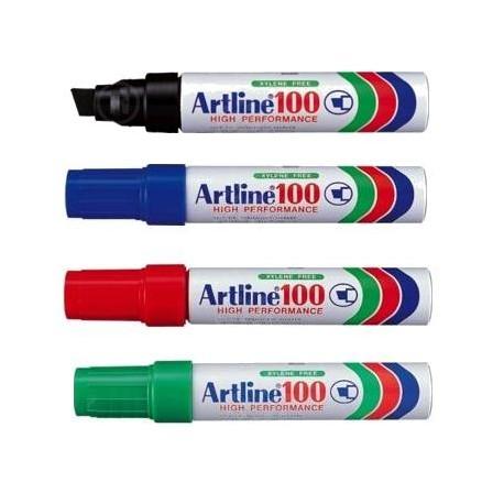 Marker permanent Artline 100, varf tesit 7,5 - 12 mm, corp metalic