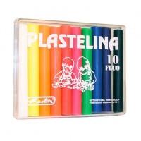 Plastilina 10 culori fluorescente in cutie de plastic, Herlitz