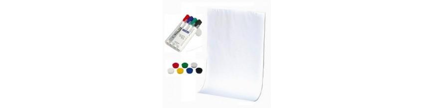 Accesorii prezentare (hârtie, markere, bureţi magnetici, magneţi, indicatoare)